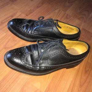 Florsheim 9 Mens Black Leather Loafer Shoe Vintage